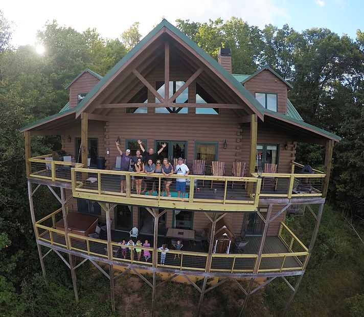 Drone photography of the Big Foot Lodge in Blue Ridge GA.