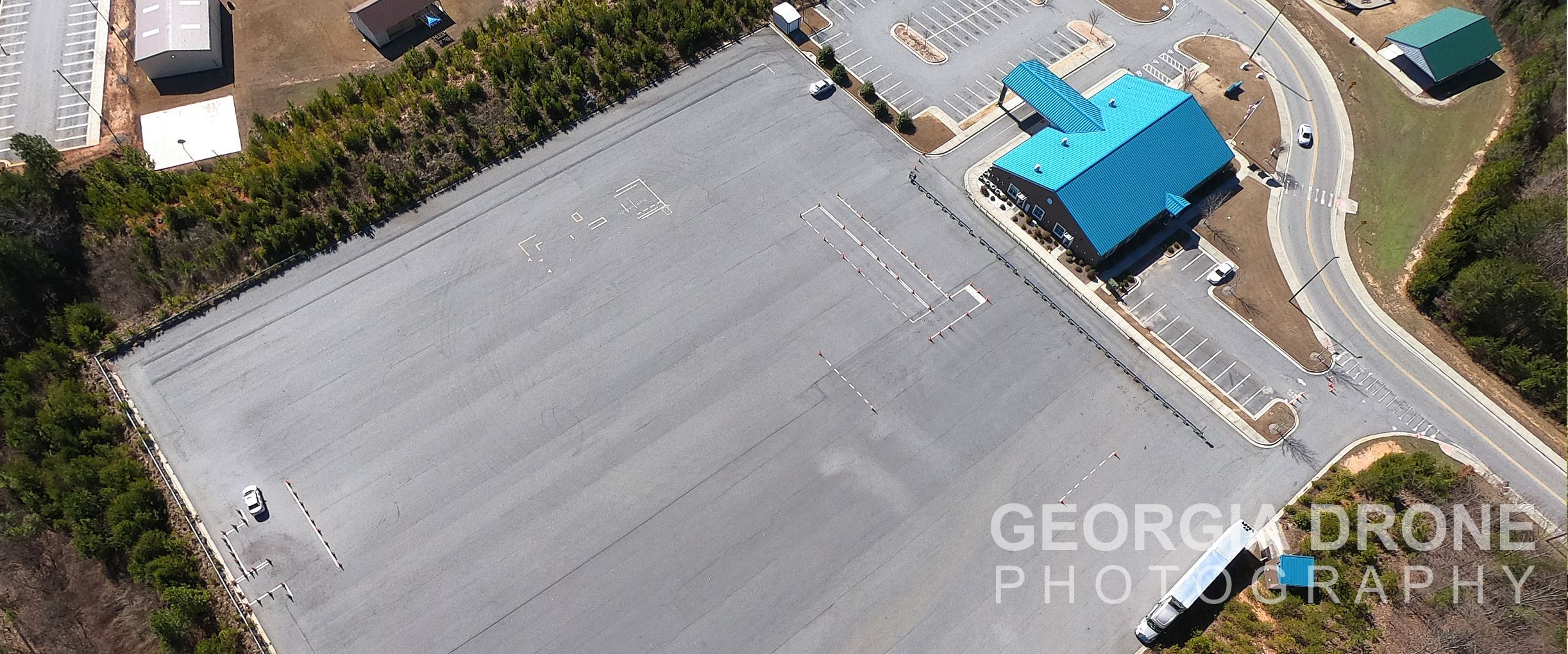 Drone inspection of commercial real estate in Cumming Georgia.