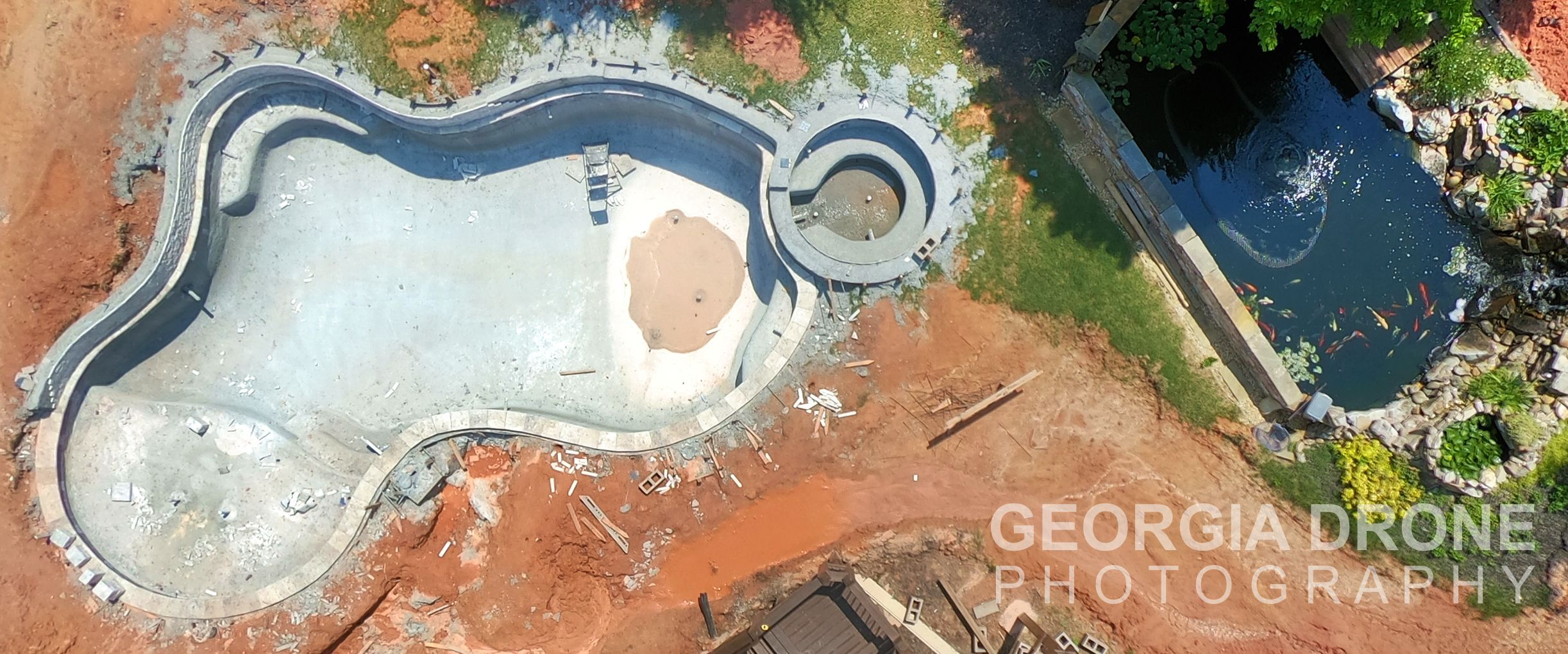 Drone photo of Alpharetta GA swimming pool installation