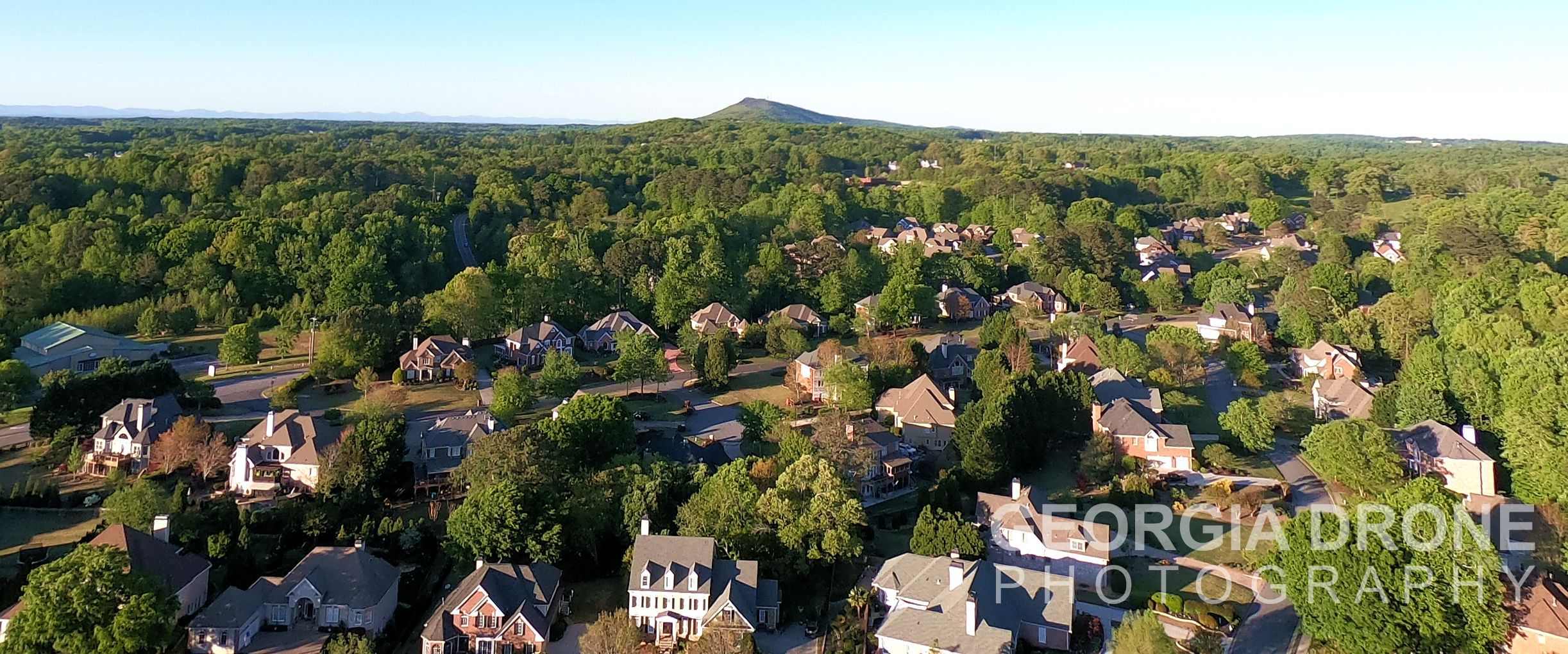 Drone photography of Sawnee Mountain in Cumming Georgia.