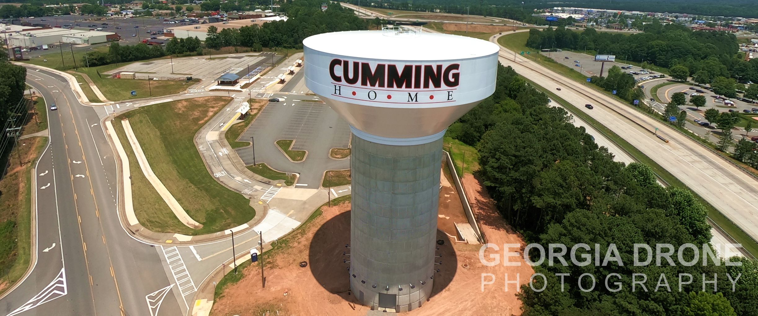 Drone photo of Cumming GA water tower inspection