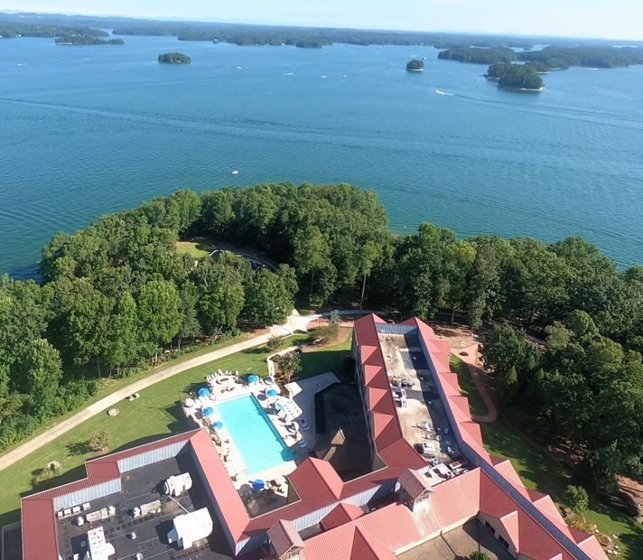 Drone photography of Lake Lanier Islands Legacy Lodge overlooking Lake Lanier