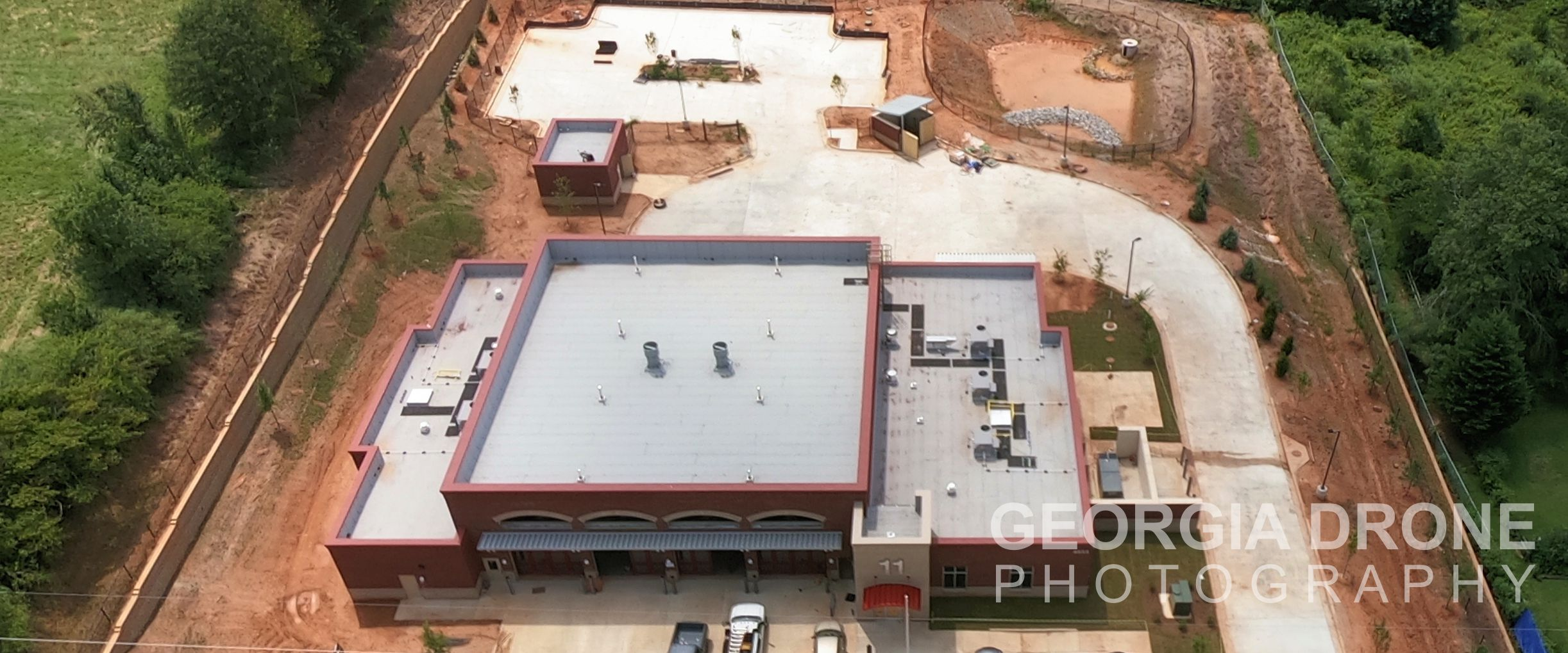Drone photography of construction of the Forsyth County fire station number 11 on Pittman Road