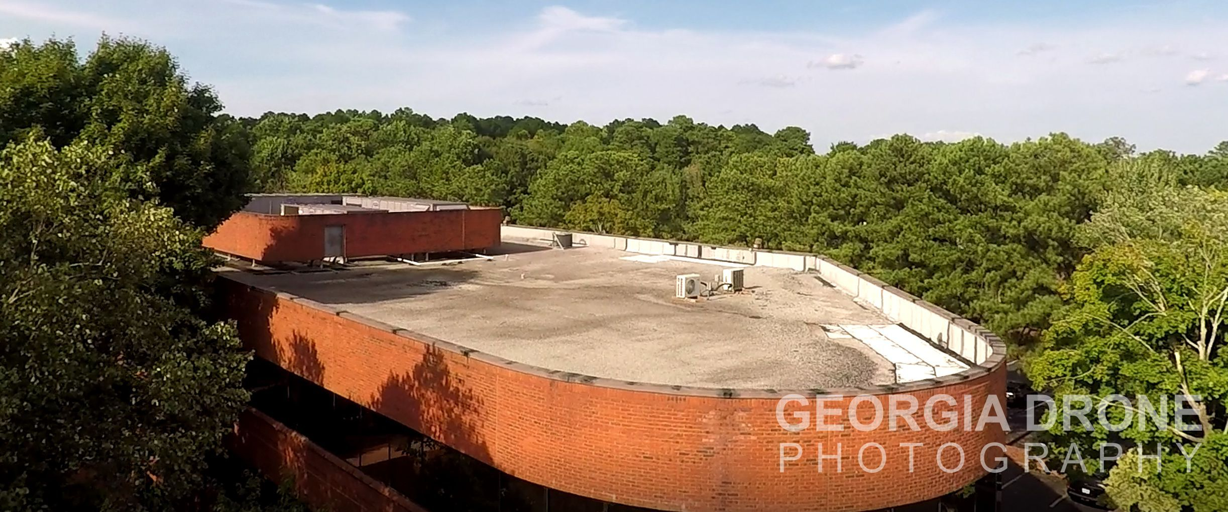 Drone photo of Roswell Georgia roof inspection.